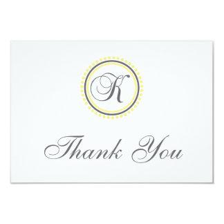 K Dot Circle Monogam Thank You Cards (Yellow/Gray)