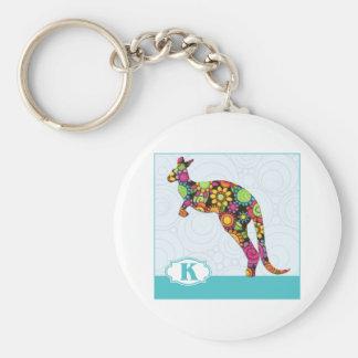 K está para el canguro llavero redondo tipo pin