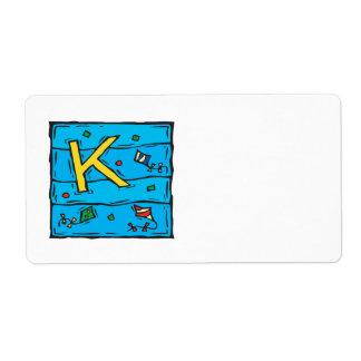 K está para la cometa etiquetas de envío