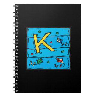 K está para la cometa libros de apuntes con espiral