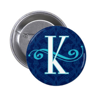"""""""k"""" fancy blue monogram design 2 inch round button"""