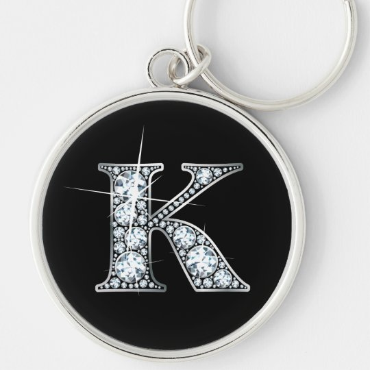 """K"" Faux-""Diamond Bling"" Keychain"