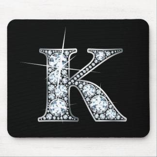 """""""K"""" Faux-""""Diamond Bling"""" Mousepad"""