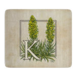 K for King's Spear Floral Monogram Art Cutting Board