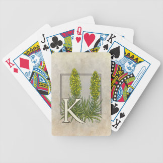 K for King's Spear Floral Monogram Art Bicycle Playing Cards
