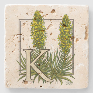 K for King's Spear Floral Monogram Art Stone Coaster