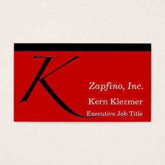 K - Inicial de Zapfino en rojo Tarjetas De Visita