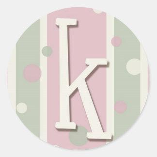 K inicial para los chicas pegatina redonda
