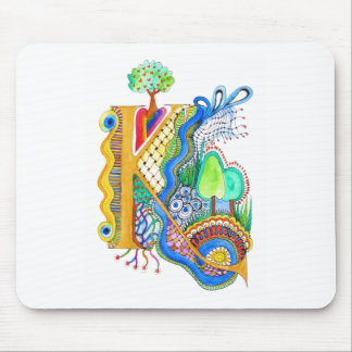 K, initial, monogram, wedding mouse pad