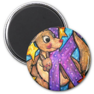 K is for Kangaroo 2 Inch Round Magnet
