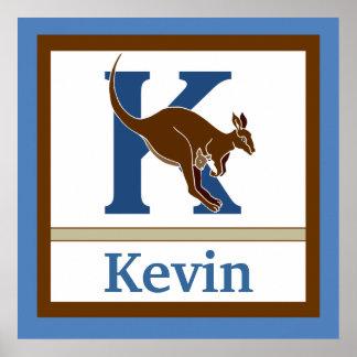 K is for Kangaroo and Boy Name Wall Art for Kids