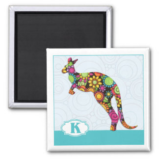 K is for Kangaroo 2 Inch Square Magnet