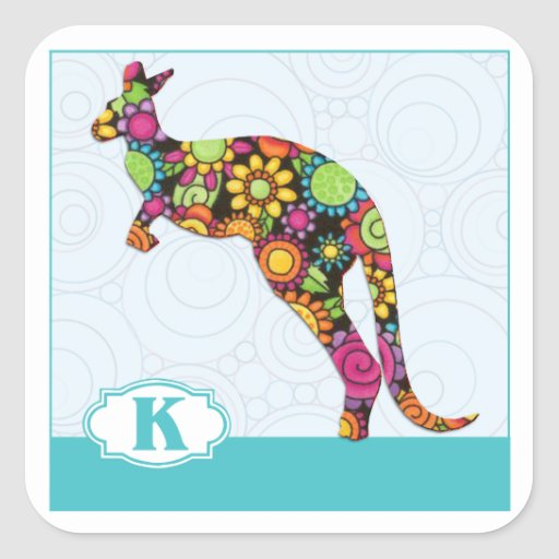 K is for Kangaroo Square Stickers