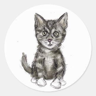 K is for Kitten Classic Round Sticker