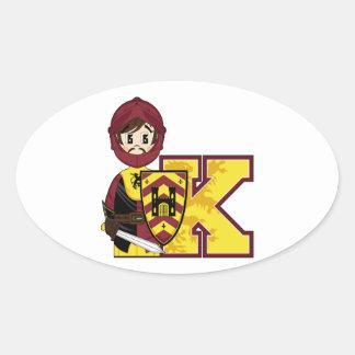 K is for Knight Oval Sticker