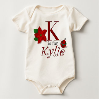 K is for Kylie, Baby's First Christmas T-shirt