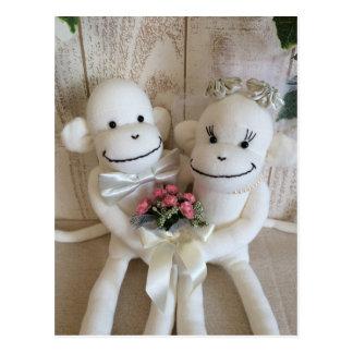 K&K Sock Monkey Wedding(Pink) Postcard