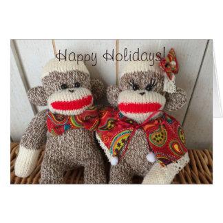 K&K Sock Monkeys(Paisley) Greeting Card