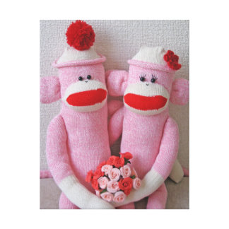 K&K Sock Monkeys Wrapped Canvas