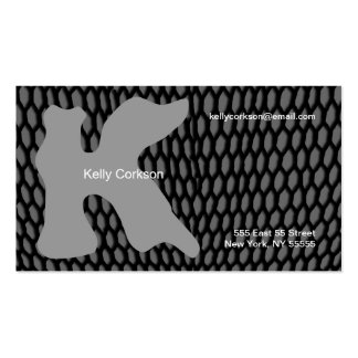 K Letter Alphabet Business Card Grey
