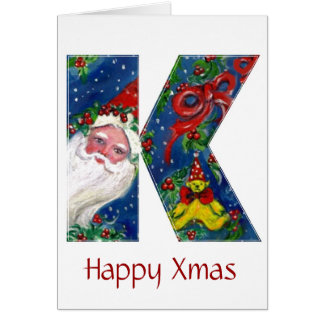 K LETTER / SANTA CLAUS WITH RED RIBBON MONOGRAM GREETING CARD