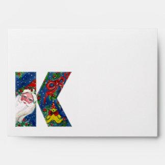 K LETTER / SANTA CLAUS WITH RED RIBBON MONOGRAM ENVELOPE