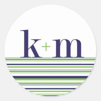 k+m monogram and stripe Sticker