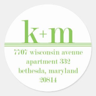 k+m return address classic round sticker