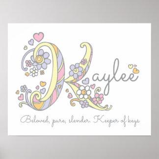 K monogram art Kaylee girls name meaning poster