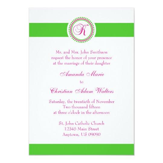 K Monogram Dot Circle Wedding Invite (Pink / Lime)
