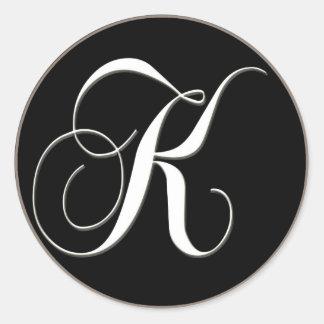 K monogram - elegant black and white classic round sticker