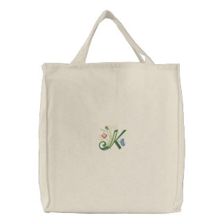 K monogram floral butterfly embroidered tote bag