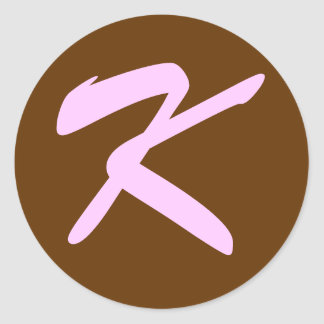 K MONOGRAM INITIAL BROWN PINK ROUND STICKER