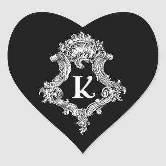 K Monogram Initial Heart Sticker