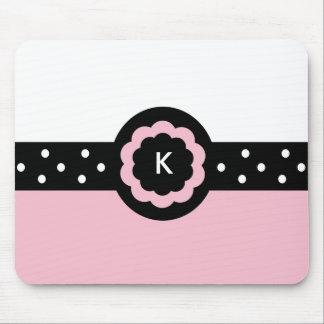K :: Monogram K Dotted Pink & White Mousepad