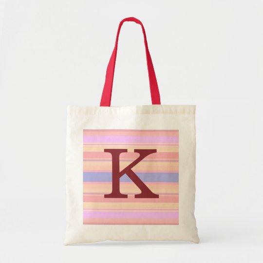 K :: Monogram K Summer Stripes Fun Tote Bag