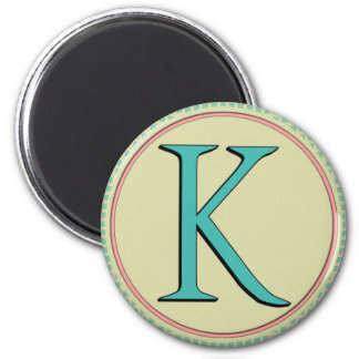 K MONOGRAM LETTER 2 INCH ROUND MAGNET