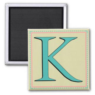 K MONOGRAM LETTER 2 INCH SQUARE MAGNET