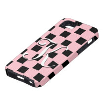 K Monogram Pink and Black Checked IPhone 5 Case