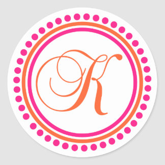 K Monogram (Pink / Orange Dot Circle) Classic Round Sticker
