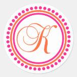 K Monogram (Pink / Orange Dot Circle) Round Sticker