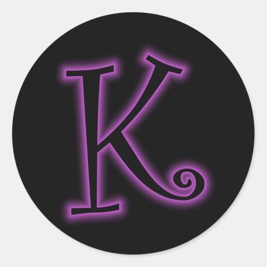 K Monogram Purple Neon Classic Round Sticker