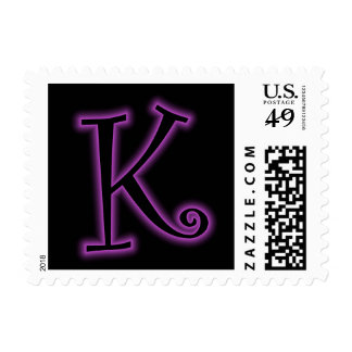 K Monogram Purple Neon Postage Stamp