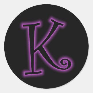 K Monogram Purple Neon Round Sticker