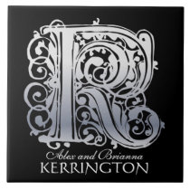 """K Monogram """"Silver Lace on Black"""" with Names Tile"""