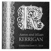 "K Monogram ""White Lace on Black"" Wedding  Tile"