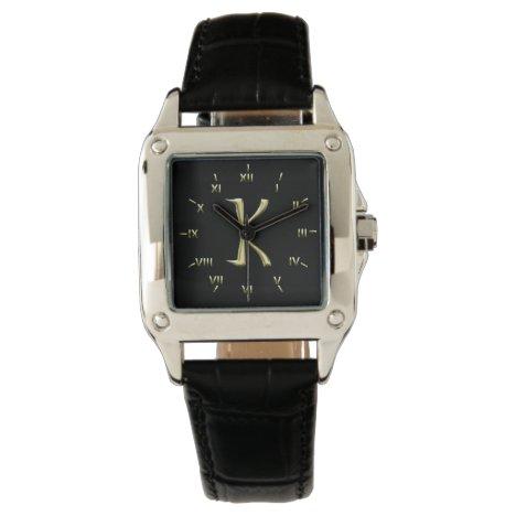 K Monogrammed with Roman Numerals Wrist Watch
