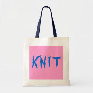 K N I T totes rosados y azules Bolsas De Mano