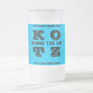 K O T Z, RADIO 720 AM, FAX 2292 INFO 4636, MESS... FROSTED GLASS BEER MUG