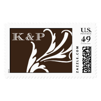 K&P Monogram on Brown Postage